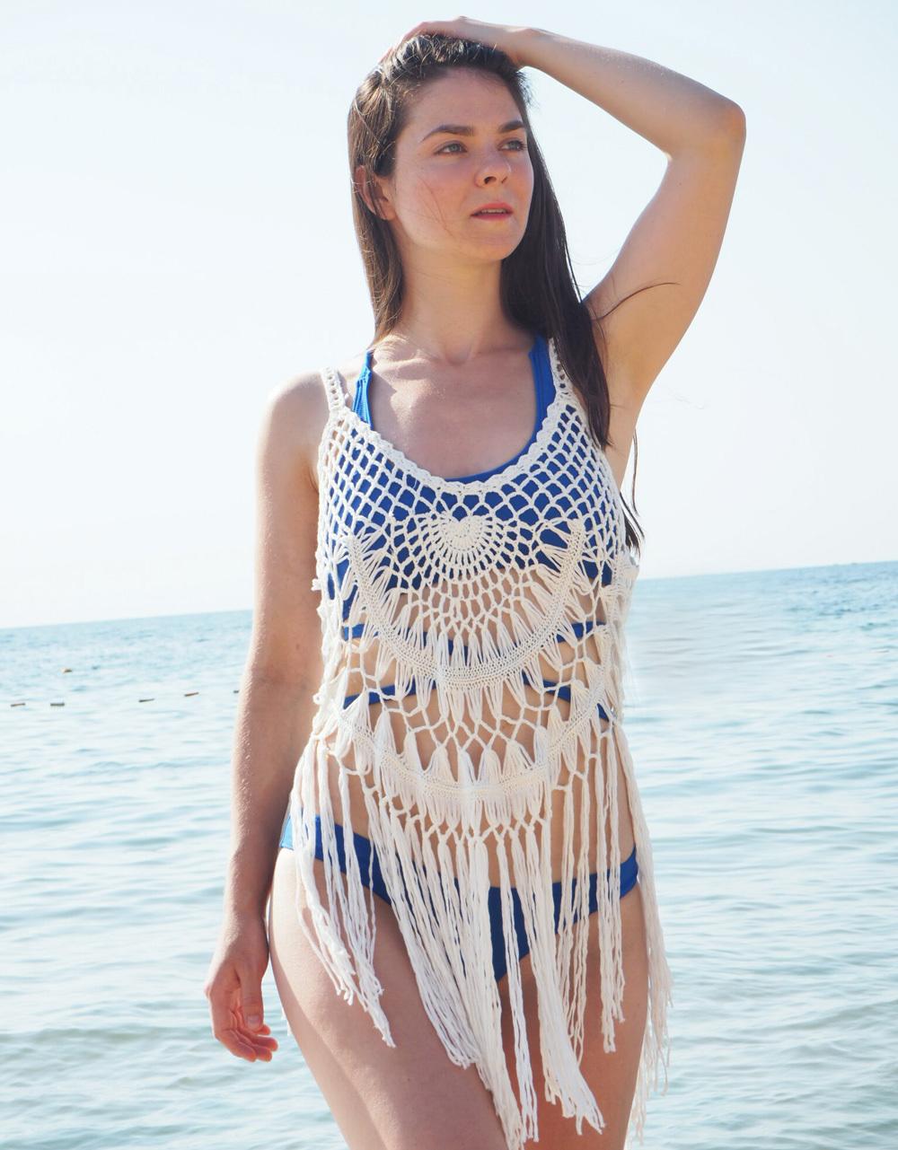 S-xxl Hollow Out Fringe Cover Up Crochet Tassel Cover-ups Women Swimwear Female Dress Beach Wear Beachwear Y363 Q190521