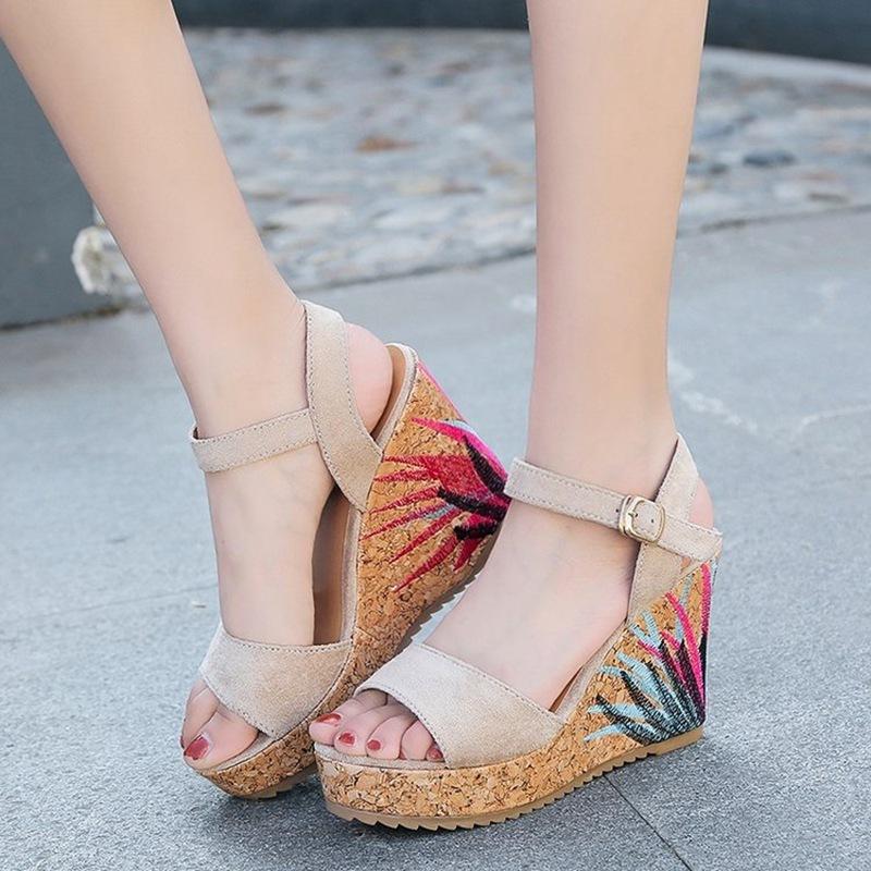 COOTELILI High Heels Women Summer Shoes Women Sandals Summer Shoes Women Open Toe Embroidery Beach Sandals 35-39 (3)