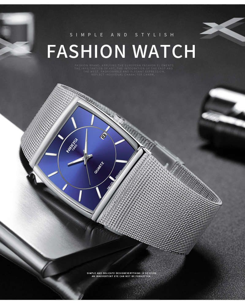 Factory Direct Sales Luxury Luminous Men`s Waterproof Watch NIBOSI Quartz European Style Unique New Square Stainless Steel Watch (14)