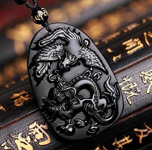 Natural Obsidian Stone Hand Carved Dragon Phoenix Amulet Charm Pendant Necklace Jewelry Gift Gemstone Wholesale