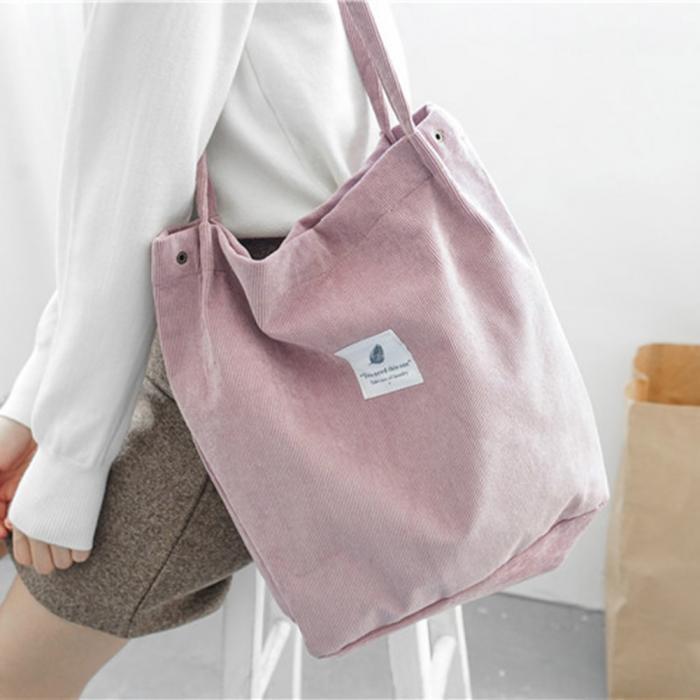 Neue Umhängetasche Weibliche Hohe Kapazität Frauen Cord Tote Damen Casual Damentasche Faltbare Wiederverwendbare Shopping Strandtasche Sac