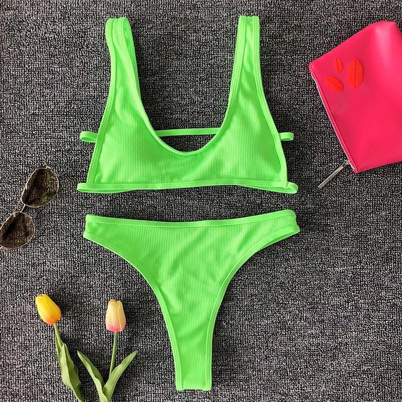 Thong Bikini 2019 Brazilian Woman Swimwear Ribbed Swimsuit Female Sexy String Bathing Suit Neon Bathers High Cut Biquini