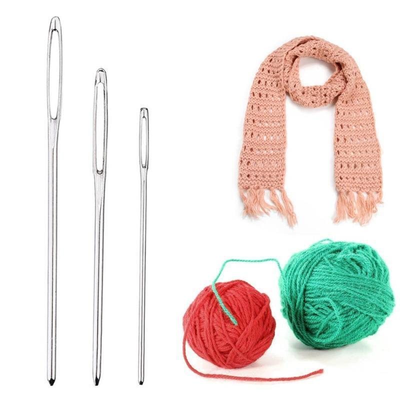 Large Eye Stainless Steel Embroidery Cross Knitting Yarn Sewing Hand Crochet Hook Set Kit DIY Crafts Tools