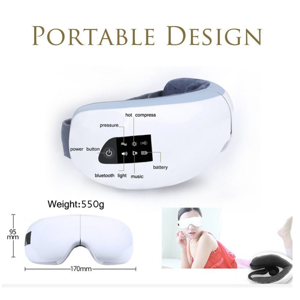 Electric Air Pressure Eye Massager With Mp3  Wireless Vibration Magnetic  Heating Therapy Massage Device Myopia Care Device C18112601 Eye Massager