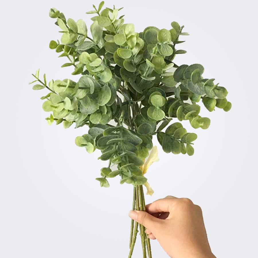 Feuille D Eucalyptus Bouquet 6 pcs eucalyptus en plastique feuilles artificielles bouquet pour la maison  de noël décoration de mariage petit faux feuillage faux argent feuille