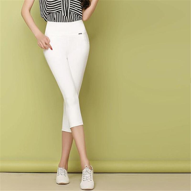 Yaz Kadın Capri Pantolon Tayt Örgü Pamuk Rahat Kırpılmış Pantolon Yüksek Elastik Kalem Külot Artı Boyutu Kırmızı Beyaz Ince Kız Streetwear