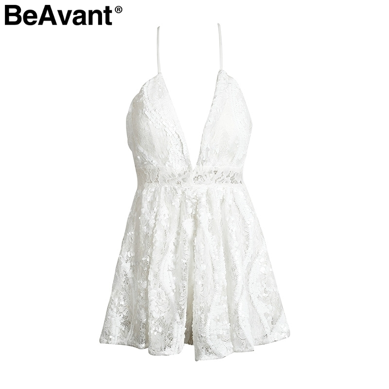 Beavant Strap V Neck Backless Sexy Romper Women High Waist Sequin Lace Jumpsuit Summer Party Black Playsuit Overalls C19040402