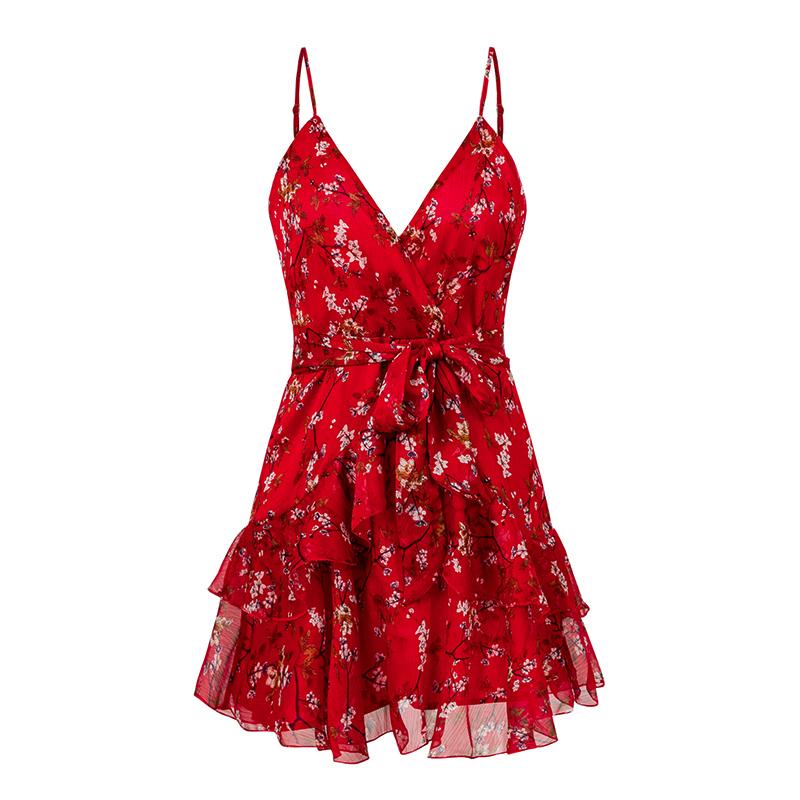 NLW Элегантное Красное Печати Короткое Платье Женщины Лето Сексуальный Ремень V Шеи Спинки Платье Holiday A-Line Лук Шифон Платье Vestidos Q190422