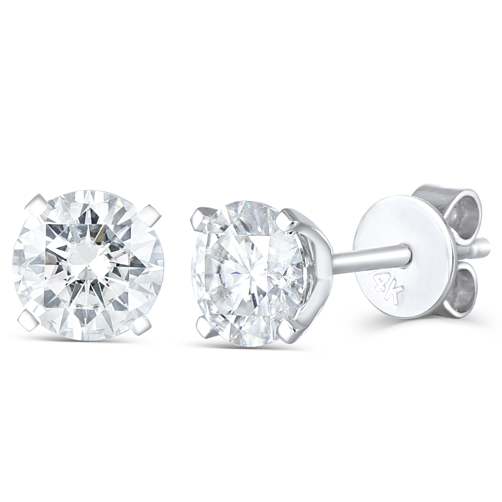 Solid 14K 585 White Gold 6.5mm F Color Heart and Arrow Cut Lab Grown Moissanite Stud Earrings for Women Push Back(3)