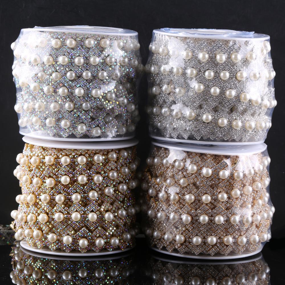 Diamantes de imitación de diamante 1m con Cadena de Perlas de Moda Encaje Oval Redondo artesanía Clothing