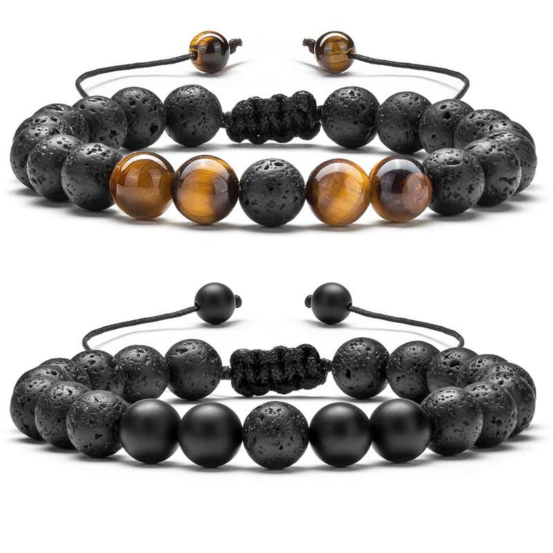 Volcanic Lava Stone Bead Bracelet Yoga Essential Oil Diffuser Bead Rock Braided String Rope Healing Balance Bangle For Men Women Jewelry