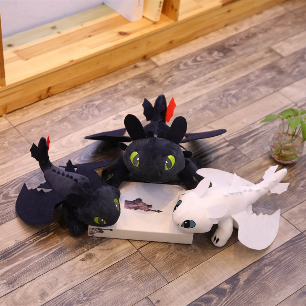 2pcs-lot-35cm-Movie-How-to-Train-Your-Dragon-Toothless-Dragon-Toy-Night-Fury-Light-Fury (2)
