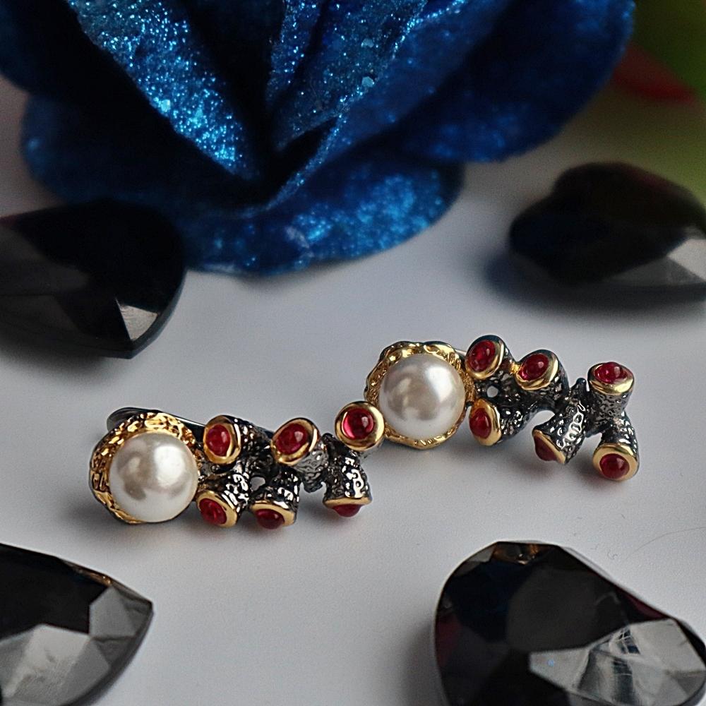 WE3784 zirconia pearl earrings gothic vintage antique jewelry women drop earings (2)