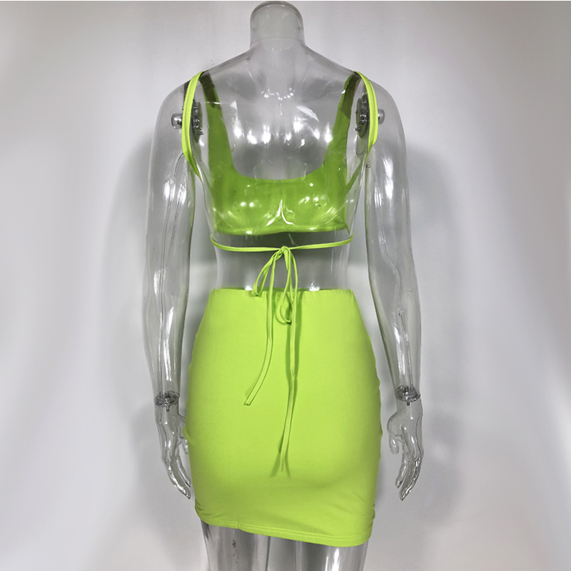 Colysmo Neon Green Women Party Two Piece Summer Backless Lace Up Sexy Elegant Pink Club Dress Mini Robe Femme Q190511