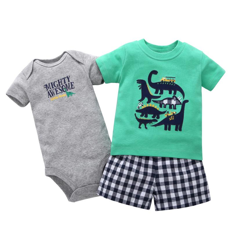 baby boy summer clothes set short sleeve dinosaur print t shirt tops+bodysuit+shorts newborn outfit 2019 new born clothing suit