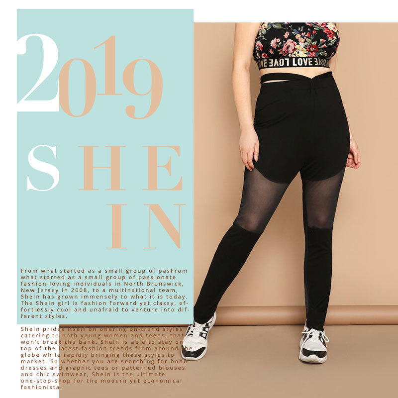 2020 Black Plus Size Cutout Waist Sheer Mesh Inset Skinny Women Long Leggings 2019 Casual Activewear Leggings C19041001 From Linmei0004, $23.92 |