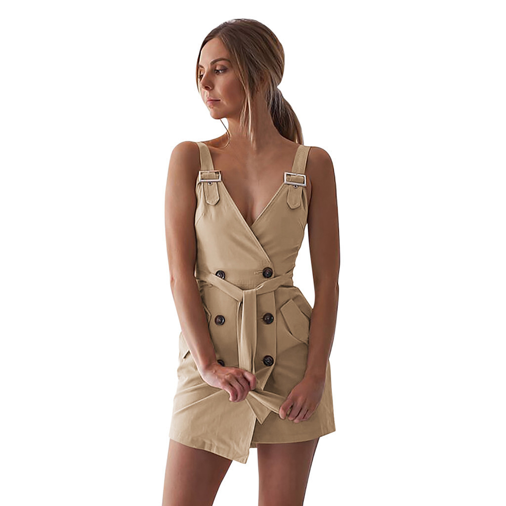 Femmes Profonde V Wrap Ruché Sans Manches Discothèque Mini Robe Avec Pocket Party Sexy Dress Femmes Vestidos Verano 20191208 Y19051001