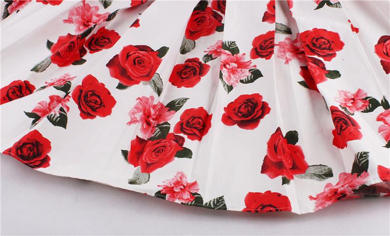Kostlish Retro Print Flower Summer Skirts Womens High Waist Vintage Skirt Elegant A-Line Midi Women Skirt Plus Size XXL 22 (40)