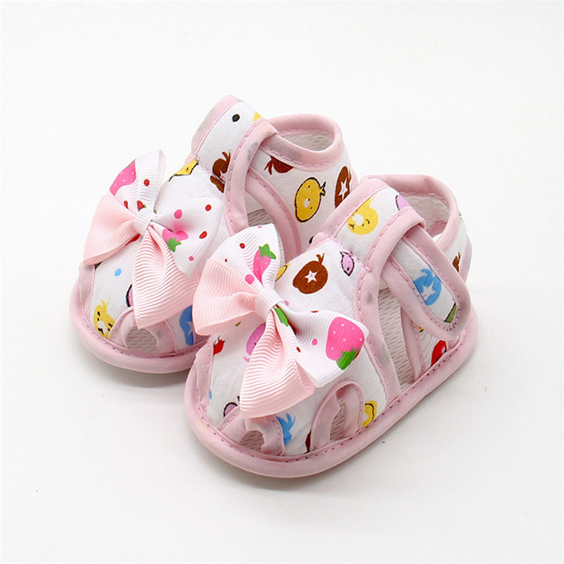 4 Color Summer Girls Shoes Newborn Infant Baby Girls Bow Print Soft Sole Toddler Anti-slip Shoes First Walker NDA84L23 (13)