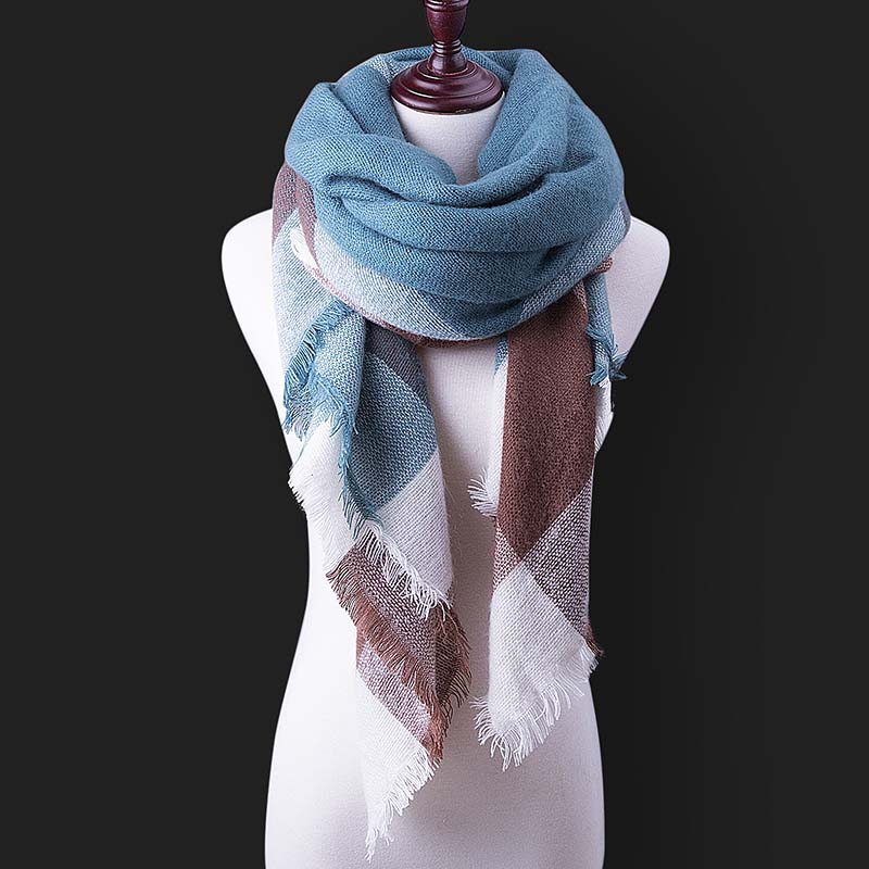 Double-sided Lattice Warmth Fringed Scarf Christmas Gift Scarf Wholesale Mens New Foreign Scarf