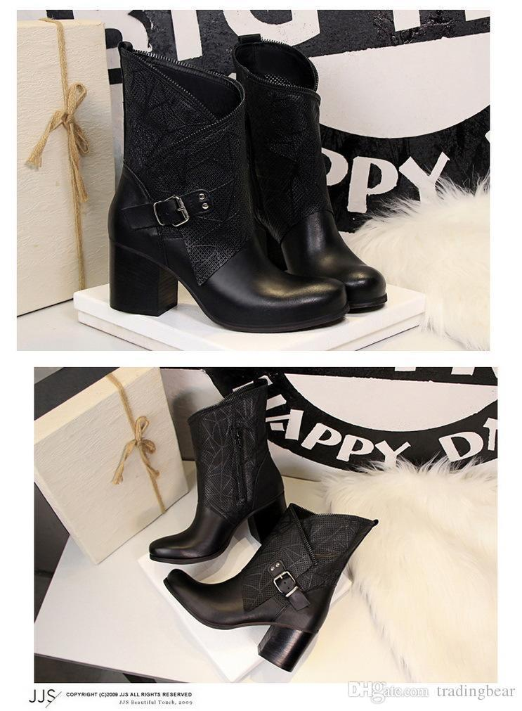Sexy2019 Light Tan With Buckle Wooden Grain Zip Decorated Chunky Heel Combat Boots Women Knight Boots Size To
