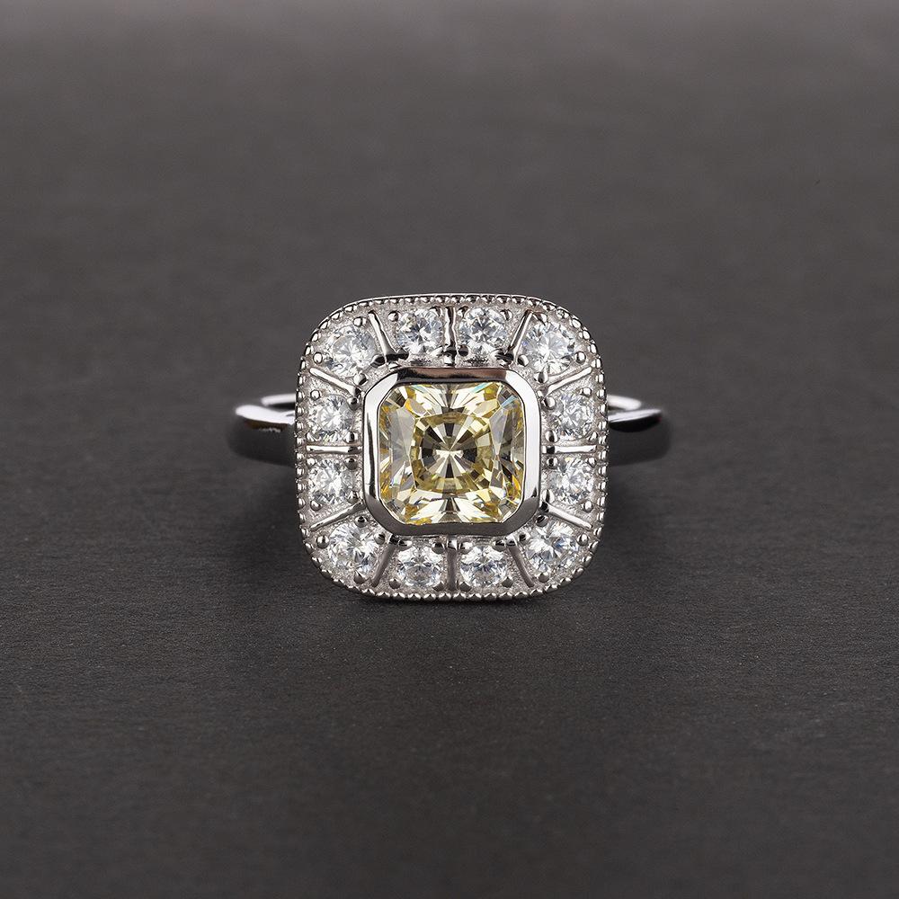 Onerain Vintage 100% 925 Sterling Silver Sapphire Topaz Citrine Diamonds Wedding Engagement Couple Women Men Gems Ring Jewelry J190704