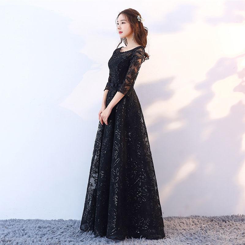 783760916577 Compre Dongcmy 2019 Recién Llegado De Moda Formal Largo Color Negro  Lentejuelas Elegante Encaje Vestido De Noche Y190525 A $79.45 Del Tao02 |  ...