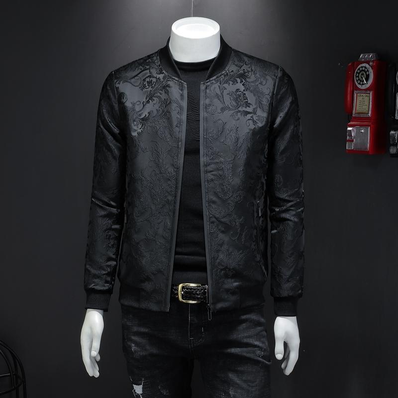 2017 New Printing Personality Mens Baseball Uniform Small Collar Jacket Fashion Youth Mens Coats Mens Jacket Tide
