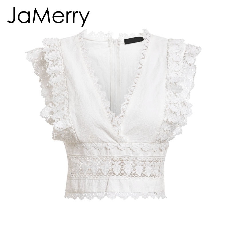 79fed8f2a9cea 2019 Jamerry Vintage Sexy Elegant Lace Summer Crop Women Tank Tops Ruffle  Embroidery White Cotton Camisole Streetwear Ladies Camis Y19042801 From ...