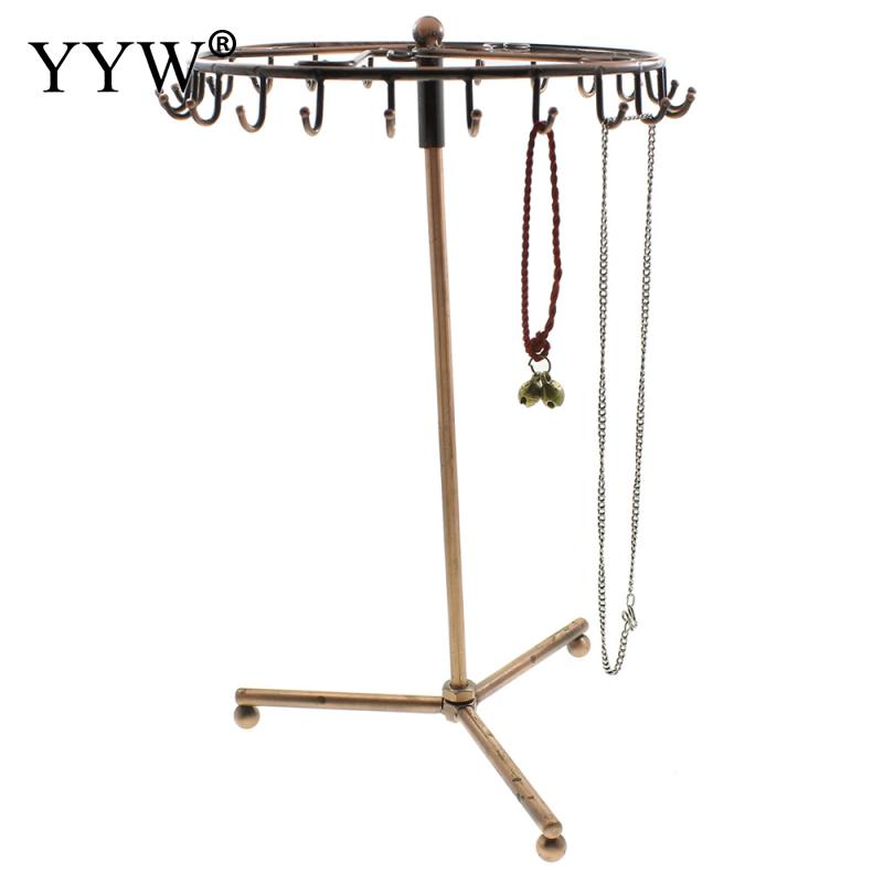 Gold Color Iron Jewelry Display Rotating Holder Organizer Necklace Earrings Bracelets Rack Holder Display Tools Stand Rack Hooks