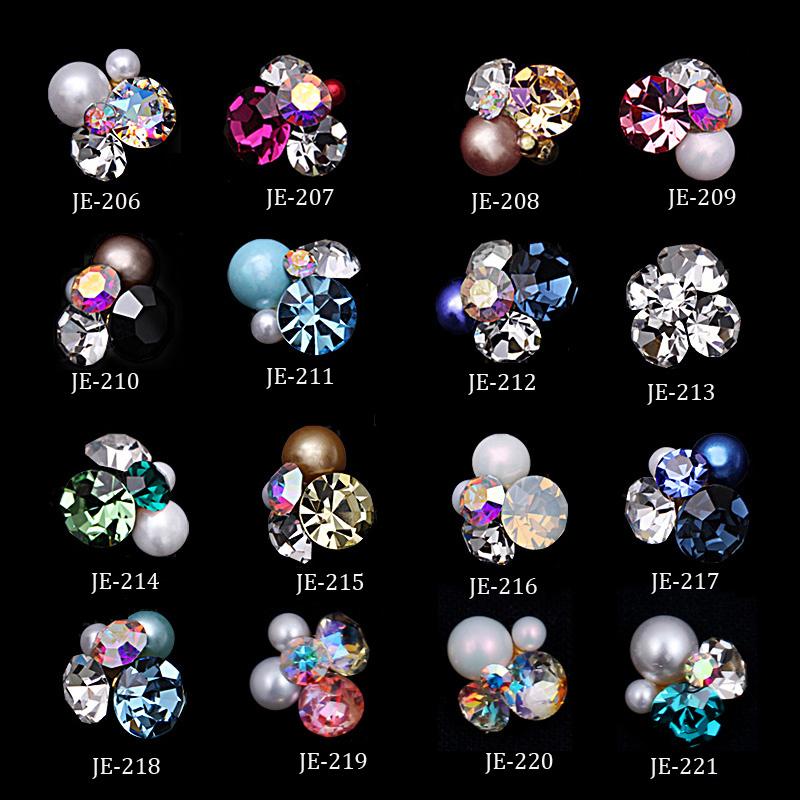 100 pçs / set Multi-cor Fantasia de Metal Encantos de Jóias 3D Padrão de Flor Encantos Strass DIY Nail Art Telefone Jóias JE206-221