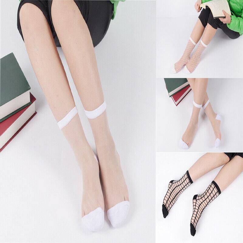 Calze Donna Pizzo Increspatura Caviglia Morbido Cotone Seta Trasparente Elastico a Maglia Trasparente