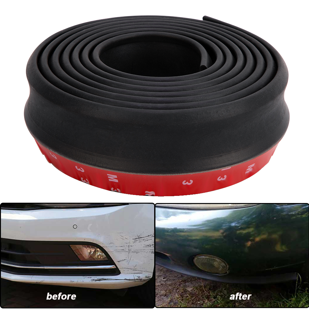 Gomma morbida fascia paraurti nero 60 millimetri auto Larghezza 2,5 m Lunghezza Esterno Paraurti anteriore Lip Kit//Striscia Autoscontro