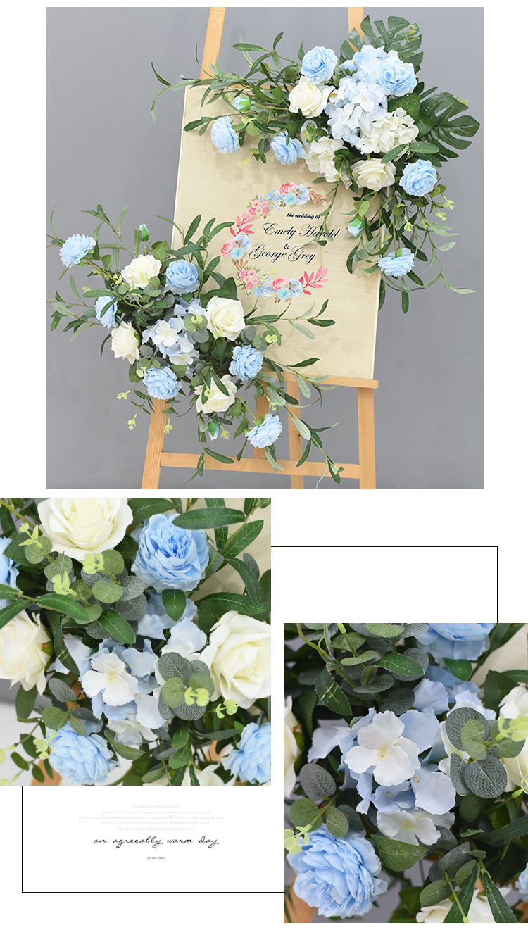 JAROWN Wedding Flower Row Welcome Sign Simulation Floral Hotel Creative Guide Decorations Photography Props Home Door Flower (9)