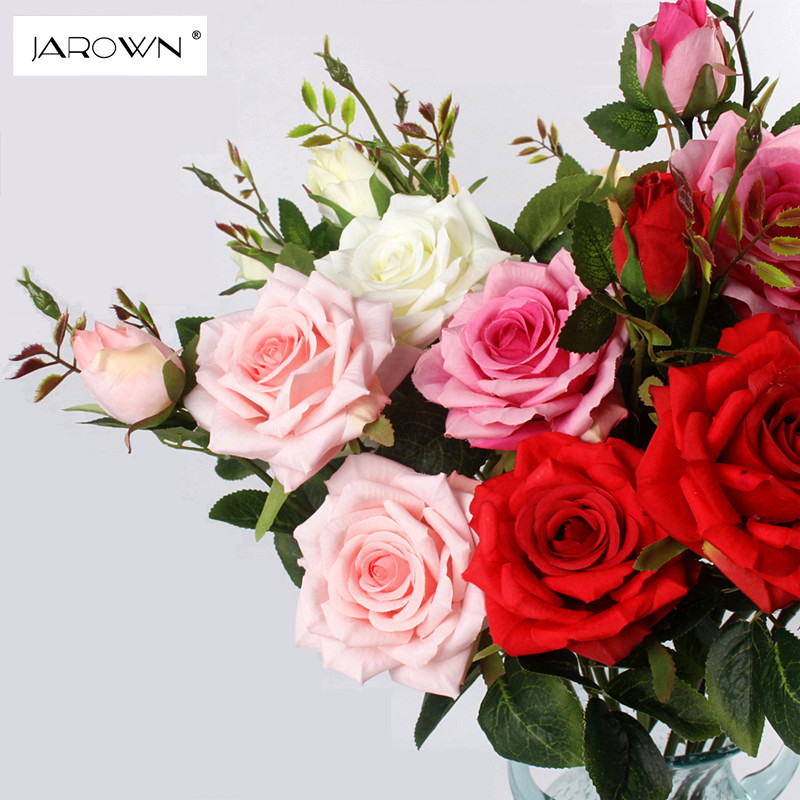 JAROWN Artificial 3Heads Paris Roses Flowers Artificial Plants Decorative Silk Flowers For Wedding Home Party Decoration Accor (4)