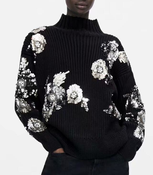 2019 Women Sequined Flower Knitted Sweater Loose Turtleneck Sequins Beading Pullovers Sweater Winter Thick Black Tops Y190823