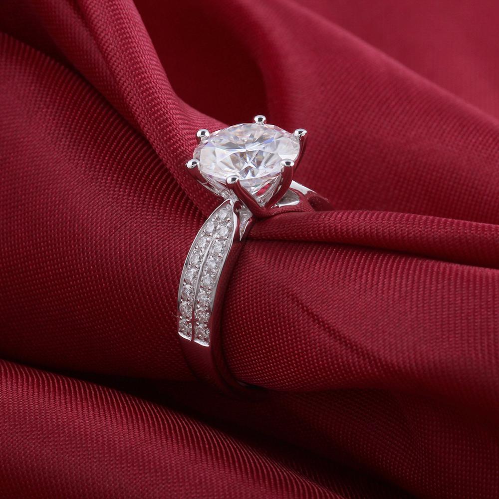 moissanite engagement ring- 14k white gold- moissanite- 3carat- F color (7)