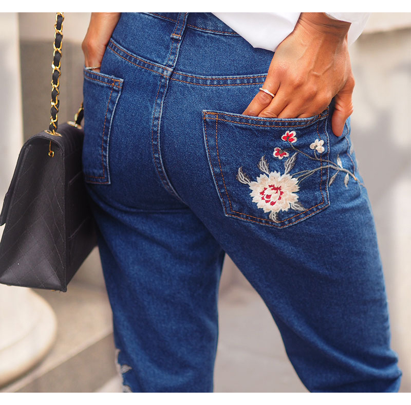 2017 European and American women 3D stereo front and rear side embroidery high waist Slim cowboy nine feet pants fashion wild (8)