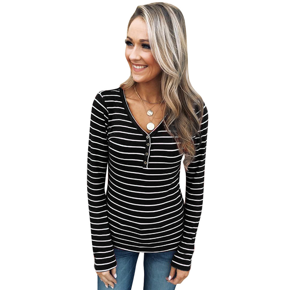 BONJEAN Striped Shirt for Women 2018 Autumn Tops and Tees Long Sleeve Red T Shirt V-Neck Spring Clothing Casual Shirts BJ668