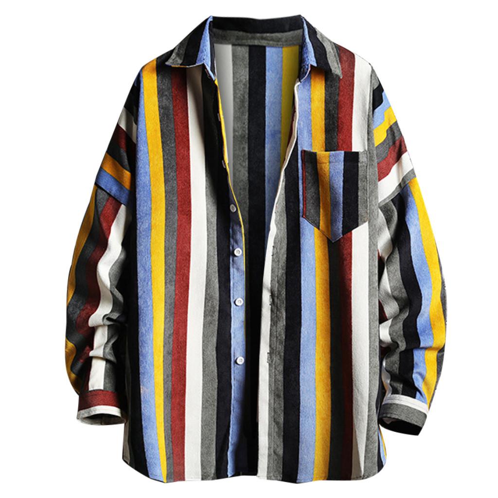 Mens Vestido Outono camisa casual Streetwear listrada solto Hoodie removível vestido camisa manga comprida Camisas hombre