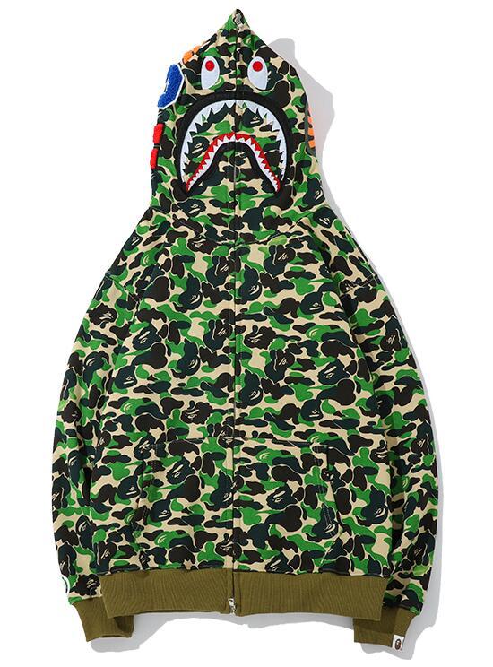 Lumineux A Bathing Ape Bape Sweat Manteau à Capuche Veste Shark Head Camouflage