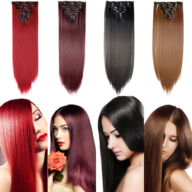 """fshion 22"""" Hairpiece 175g Straight 18 Clips In False Styling Hair Synthetic Clip In Extensions Heat Resistant"""