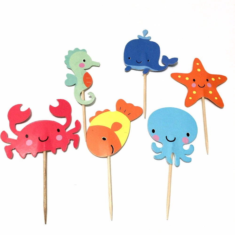 24pcs-Aquatic-Creatures-Cupcake-Toppers-Sea-Animals-Nautical-Appetizer-Picks-for-Baby-Shower-Kids-Birthday-Party