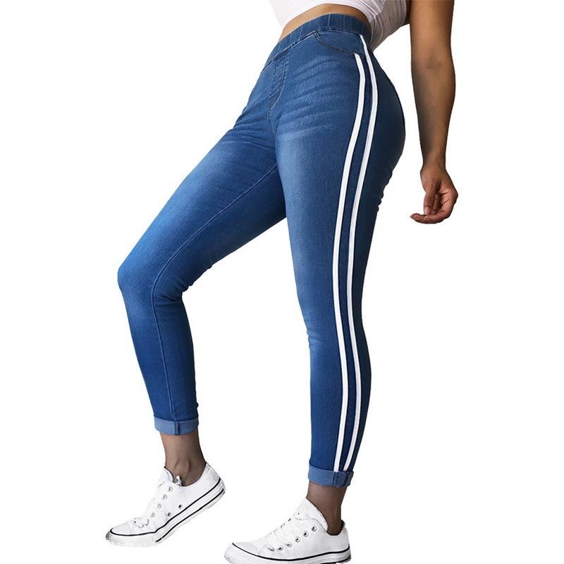 Wenyujh 2019 Femmes Jeans Taille Haute Pantalon À Rayures Côté Patchwork Skinny Jeans Matched Pantalon Décontracté Jeans Slim Plus Size 4xl Y19042901