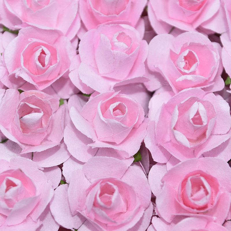 72 / 2cm Mini Papier Artificiel Rose Tête De Fleur Pour La Décoration De Mariage Diy Guirlande Cadeau Scrapbooking Artisanat Fournitures