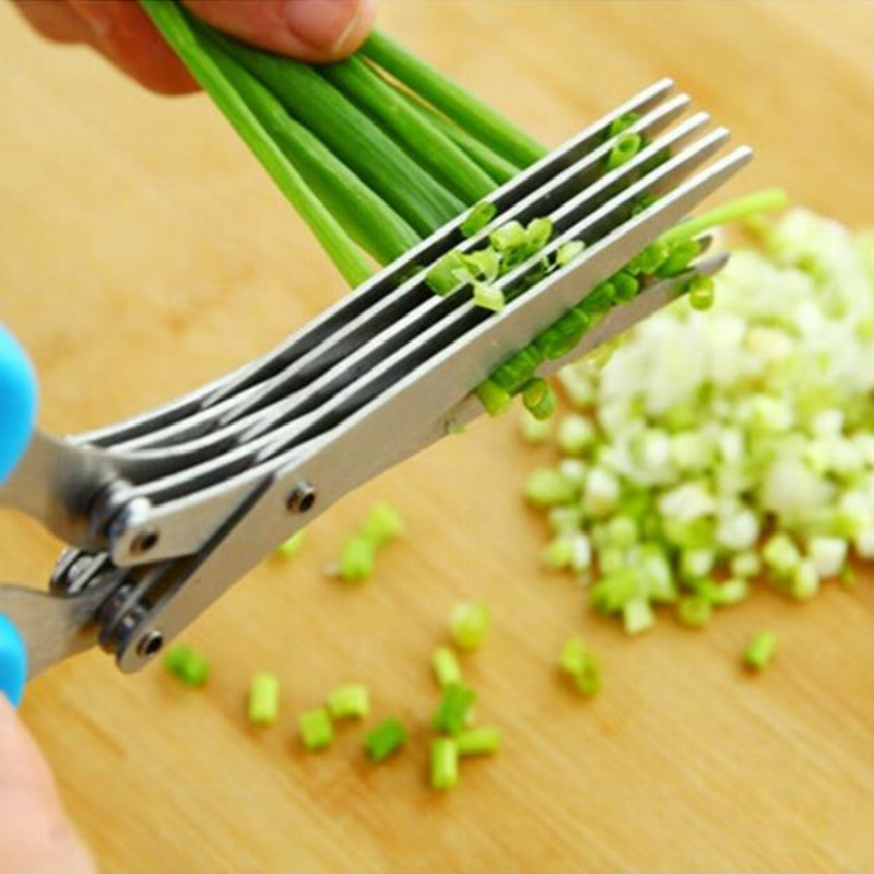 Multi-functional Stainless Steel 5 Layer Kitchen Knife Scissor Shredded Chopped Scallion Cutter Herb Laver Spices Cook Tool Cut C19042101