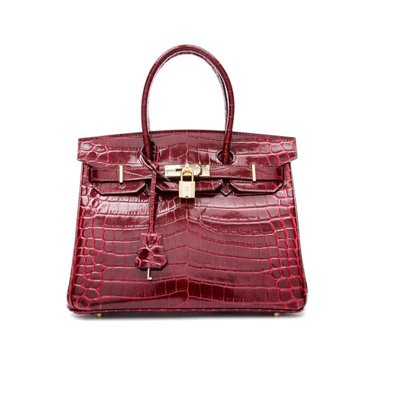 Elegant2019 Single Shoulder Messenger Cowhide Handbag Crocodile Grain Genuine Leather Woman Bag