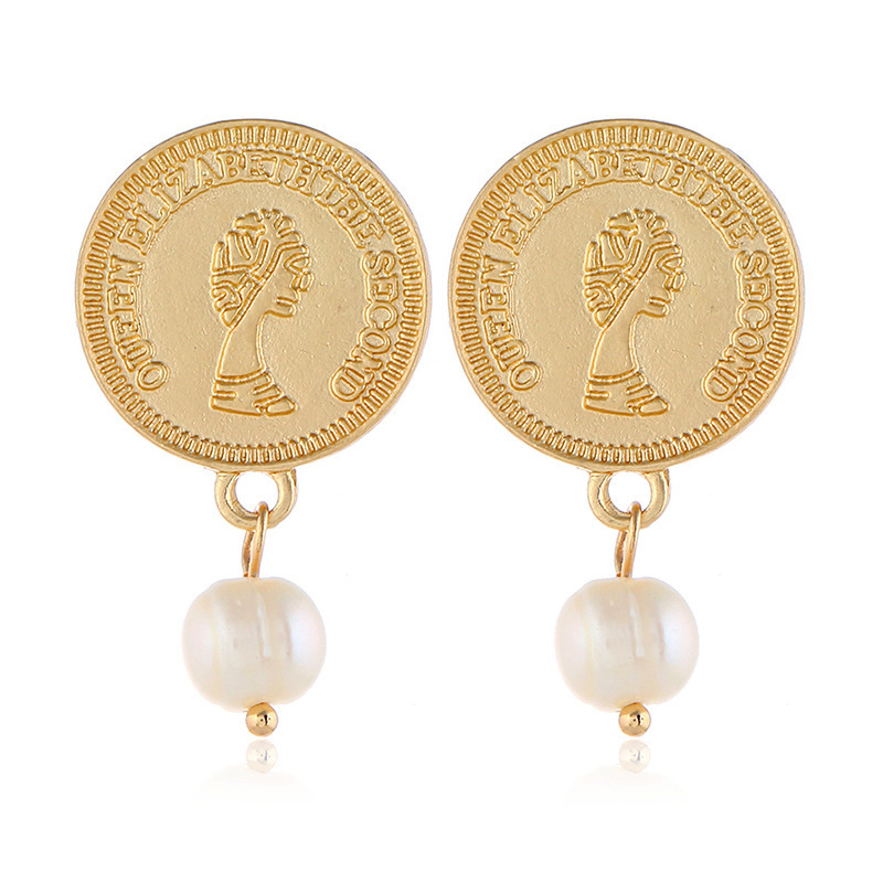 Fashion Love Designer Personality Coin English Letter Earrings Face Head Portrait Freshwater Pearl Eardrop Charms Earrings For Women