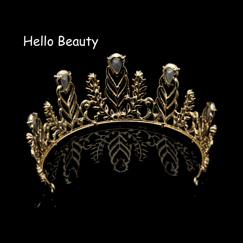 Large Vintage Green Rhinestone Feather Crown Wedding Quinceanera Crystal Leaf Prom Tiara Headband Bride Hair Accessories C18122501