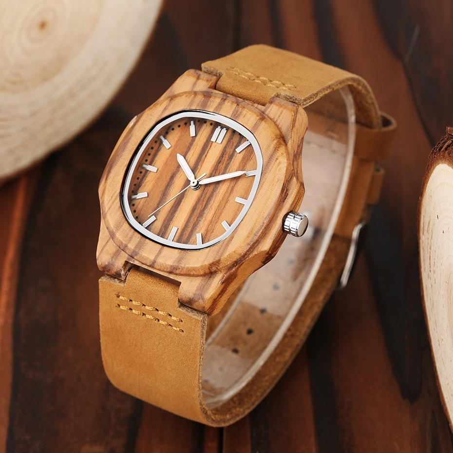 2017 New arrivals Wood Watch Natural Light Wooden Face Fashion Genuine Leather Bangle Unisex Gifts for Men Women Reloj de madera Christmas Gifts (21)